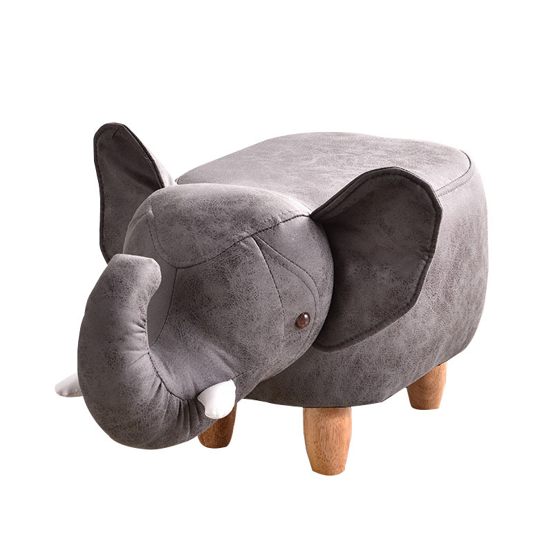 H1 Technology Cloth Cartoon Animal Shape Children Early Education Stool Low Stool Elephant Stool Solid Wood Legs Kids Furniture