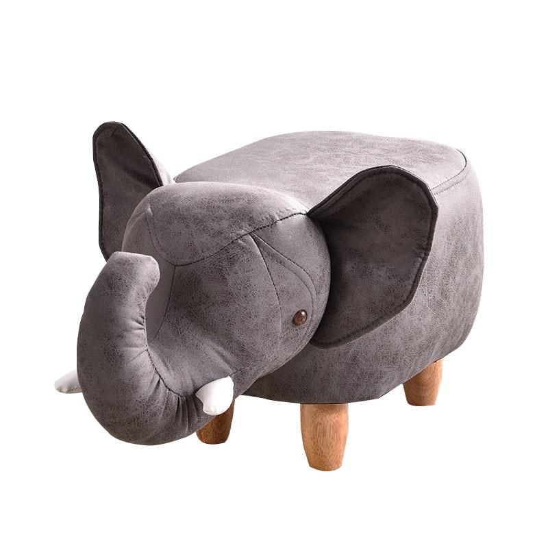 H1 Technology Cloth Cartoon Animal Shape Children Early Education Stool Low Stool Elephant Stool Solid Wood Legs Kids Furniture