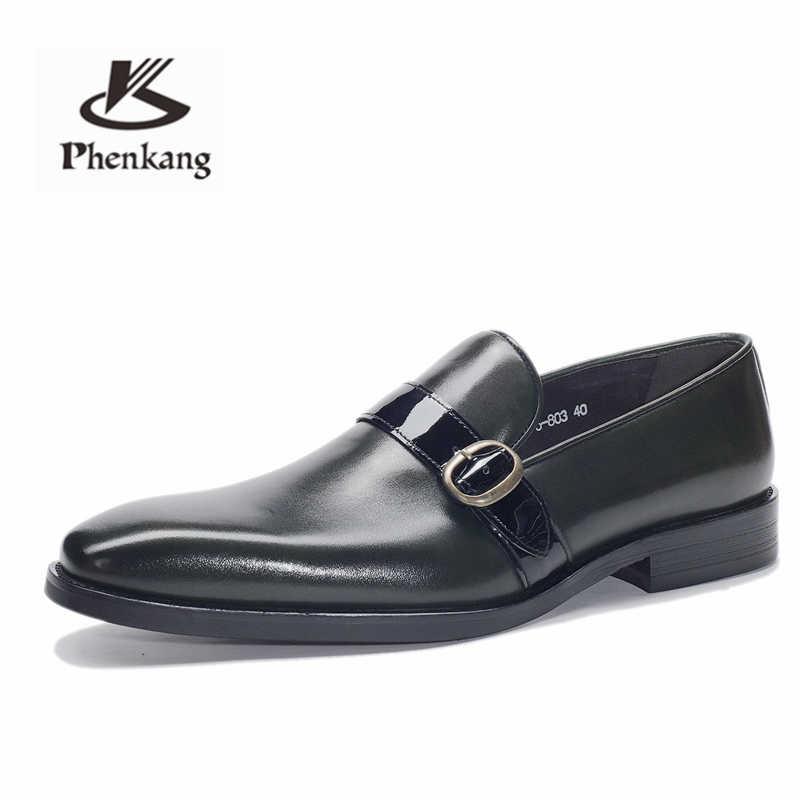 Zapatos de cuero para hombre, zapatos de vestir de negocios, zapatos de hombre, marca Bullock, zapatos negros de cuero genuino, zapatos de boda para hombre
