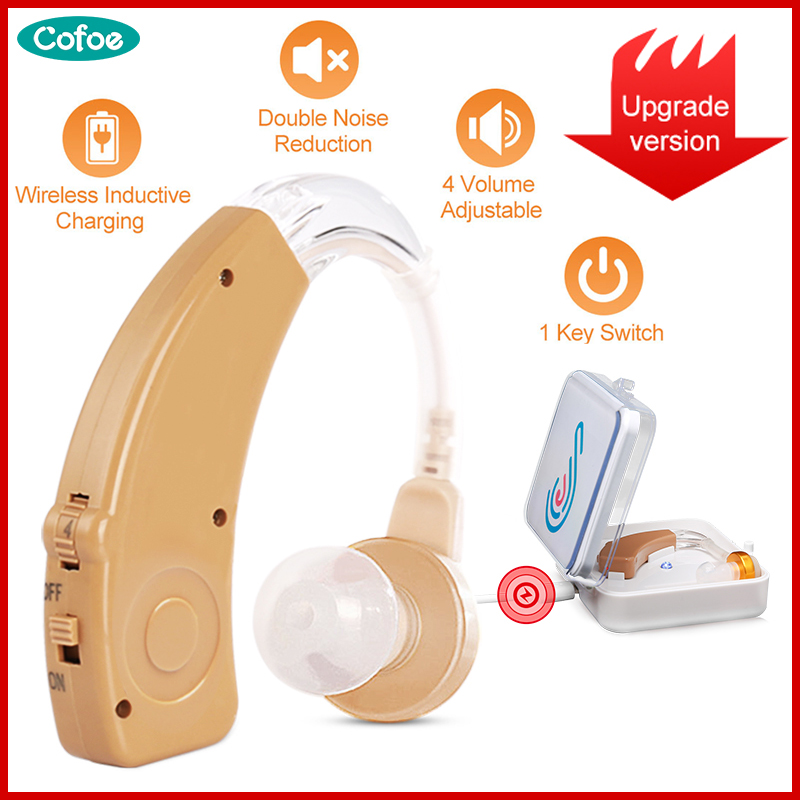Cofoe Digital Hearing Aid BTE Rechargeable Hearing Aids Device Sound Amplifier Wireless Ear Aids For The Hearing Loss Elderly