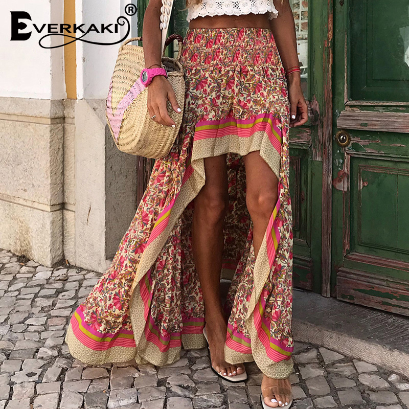 Everkaki Boho Print Long Skirts Women Bottoms Elastic Waist Gypsy Ethnic Ladies Skirt Female 2020 Spring Summer New Fashion