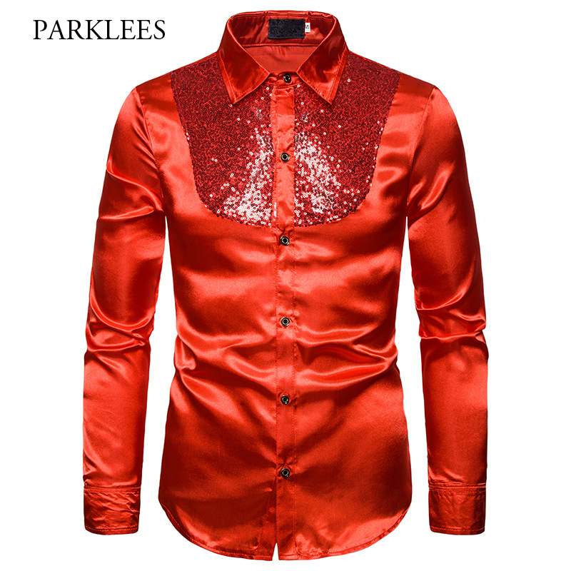 Fashion Red Silk Satin Shirt Men 2019 Brand New Shiny Sequin Chemise Homme Night Club Stage Disco Party Shirts Camisas Masculina