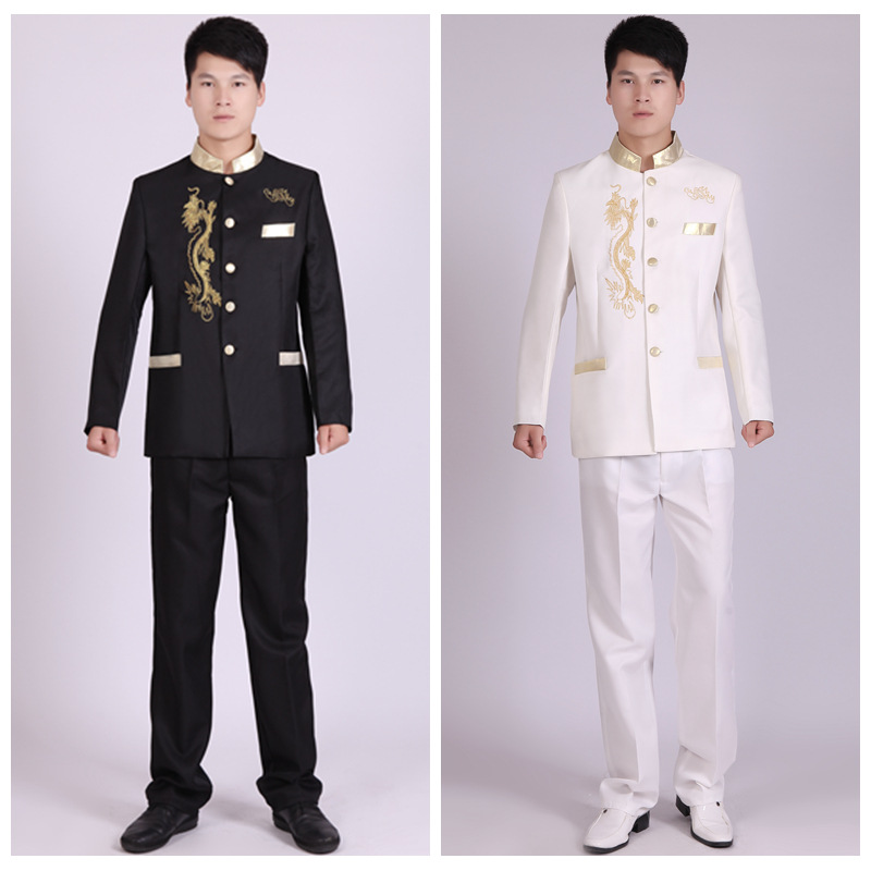 Special Offer Black And White Xiu Long Jinling Improved Sun Yat-sen Costume Performance Clothing Theatrical Group Filming Clothi