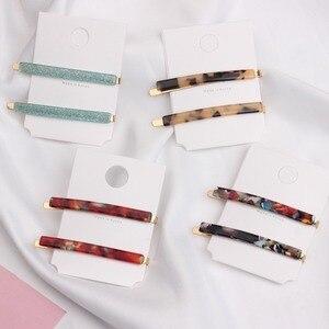 2pcs/Set Fashion Women Metal Acetate Hair Pin Clip Leopard Hair Clip Geometric Hairpins Hairgrips Hair Accessories