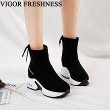 VIGOR/Брендовые женские ботильоны; Осенняя женская обувь; короткие Ботинки на каблуке 8 см; зимние женские мотоциклетные ботинки; кроссовки; WY193B