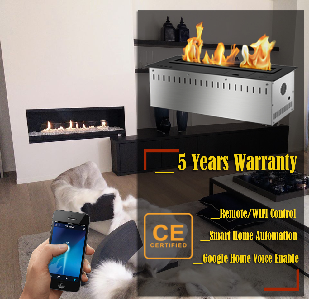 Hot Sale 72 Inches Ventless Ethanol Fireplace Insert Modern Remote Control Fireplace