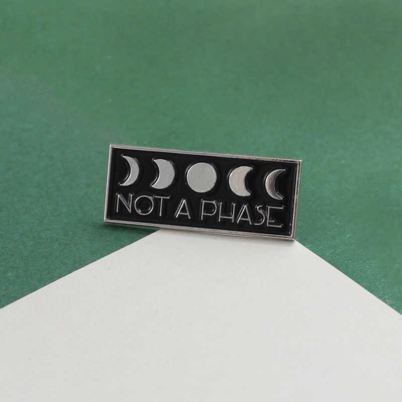 Модные эмалированные броши в виде черного билборда, не фаза Луны, новая луна, полная фаза Луны, колдовство, значок, Хэллоуин, ювелирное изделие, бижутерия