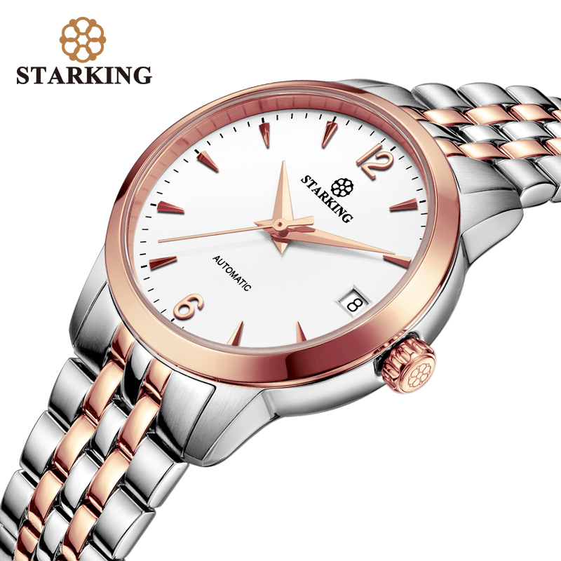 STARKING Women Watches Top Brand Luxury Rose Gold Lady Watch Stainless Steel Dress Women Watch Mechanical Wrist Watches Gift