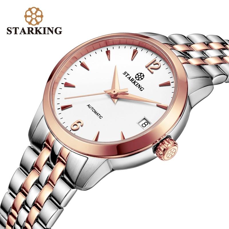 STARKING Women Watches Top Brand Luxury Rose Gold Lady Watch Stainless Steel Dress Women Watch Mechanical Wrist Watches Gift