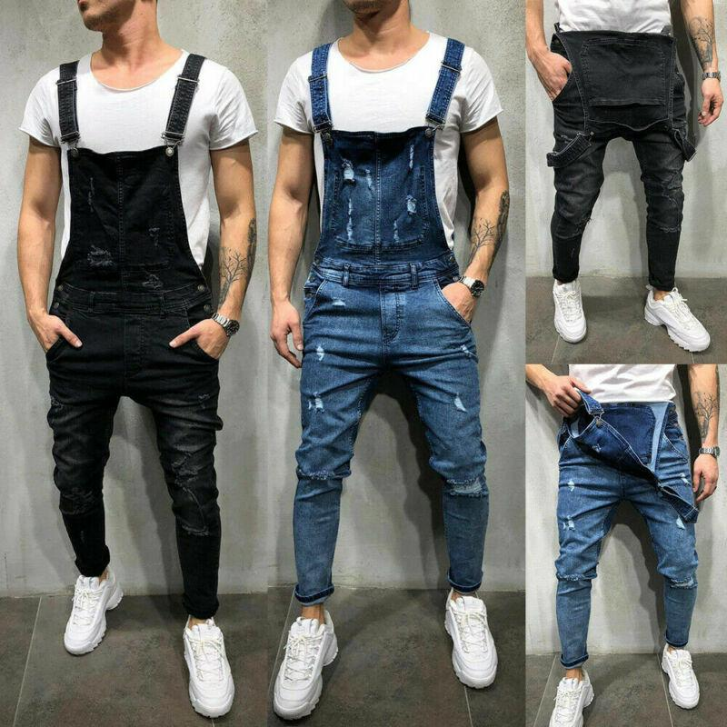 Calças de brim jeans rasgadas para homem macacão calças de babador calças macacão casual