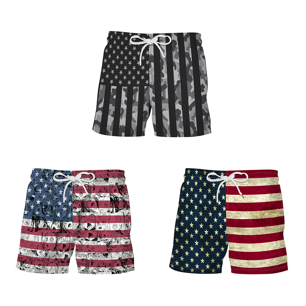 New Summer <font><b>USA</b></font> Flag Printed Beach Swimming Trunks Loose Sports Workout Bathing Board Shorts For Men Bodybuilding Trunks image