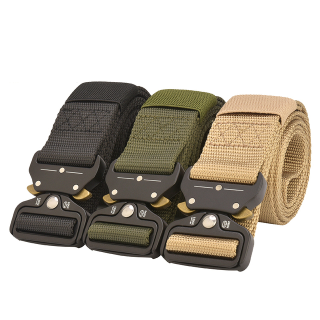 Tactical Army Belt Outdoor Nylon Waist Belts with Automatic Metal Buckle Hook Accessories for Hunting Police Duty Men Military 5