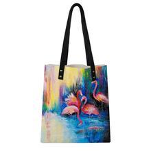 HaoYun Women Fashion PU Handbags Casual Sunset Flamingos Pattern Girls Shoulder Bags Large Capacity Travel Storage Package