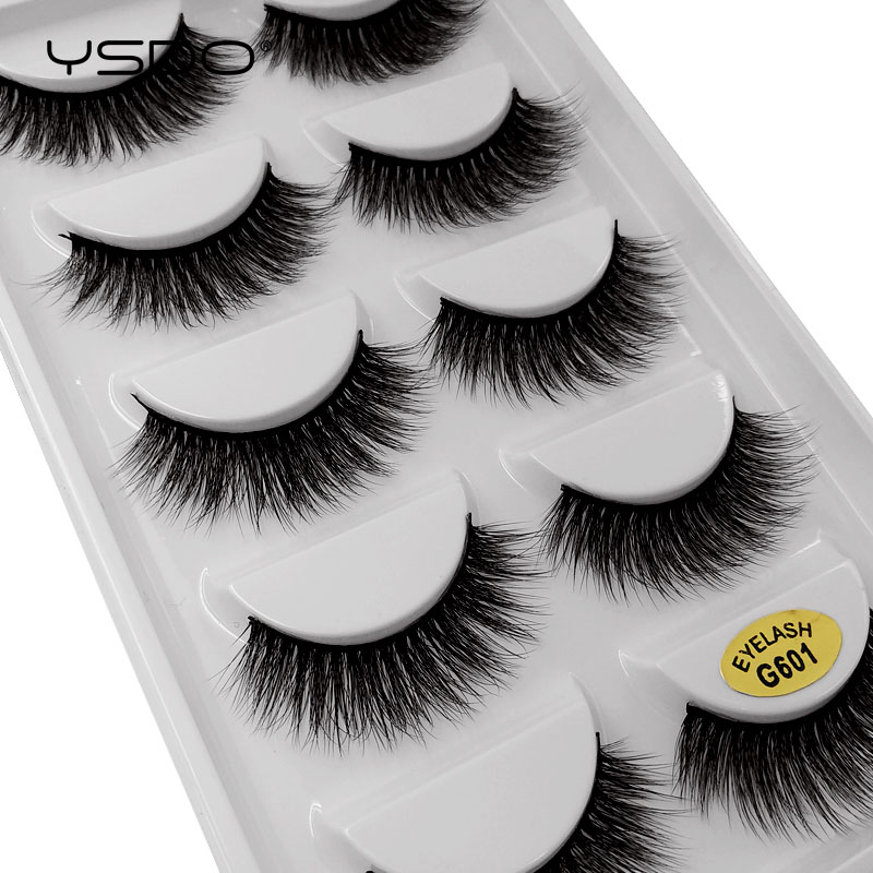 YSDO Lashes 5 Pairs False Eyelashes Natural Long Makeup False Lashes Hand Made Mink Lashes Full Strip Lashes 3d Mink Eyelashes