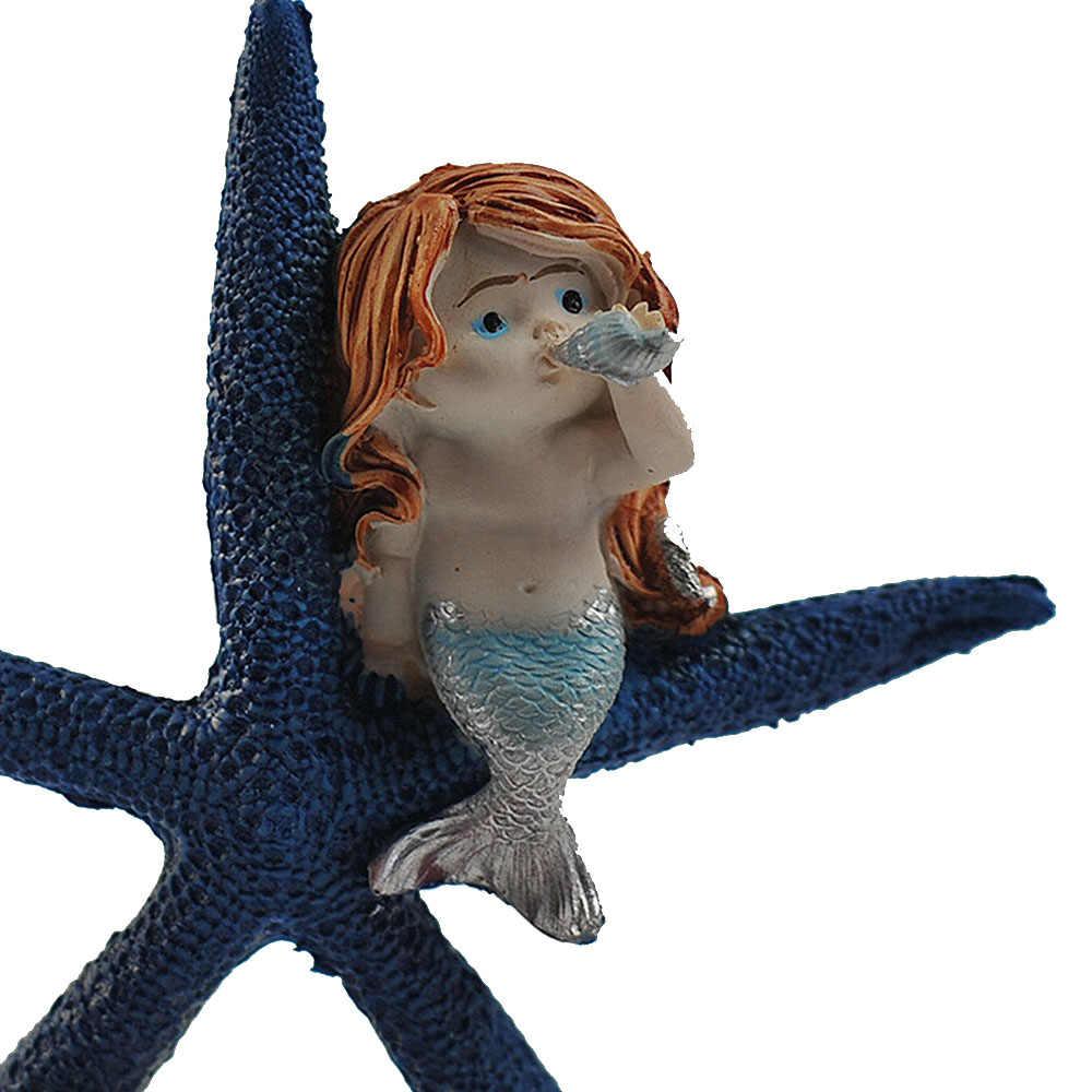 สร้างสรรค์ปลาดาว mermaid Figurines สำหรับตกแต่งบ้านศิลปะหัตถกรรมสำหรับวันหยุดของขวัญใหม่ปี DIY ตกแต่ง