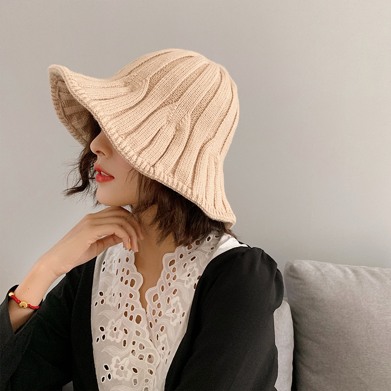 Hat Women's Autumn and Winter Knitted Woolen Bucket Hat Korean Fashion Ins Japanese Style All-Matching Internet Celebrity