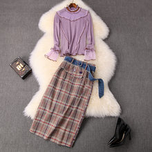 Fashion Autumn Suit 2019 Women Ruffles Mesh Stitching Knitted Sweater Top And Matching Plaid Skirt 2 Piece Set Women Outfits(China)