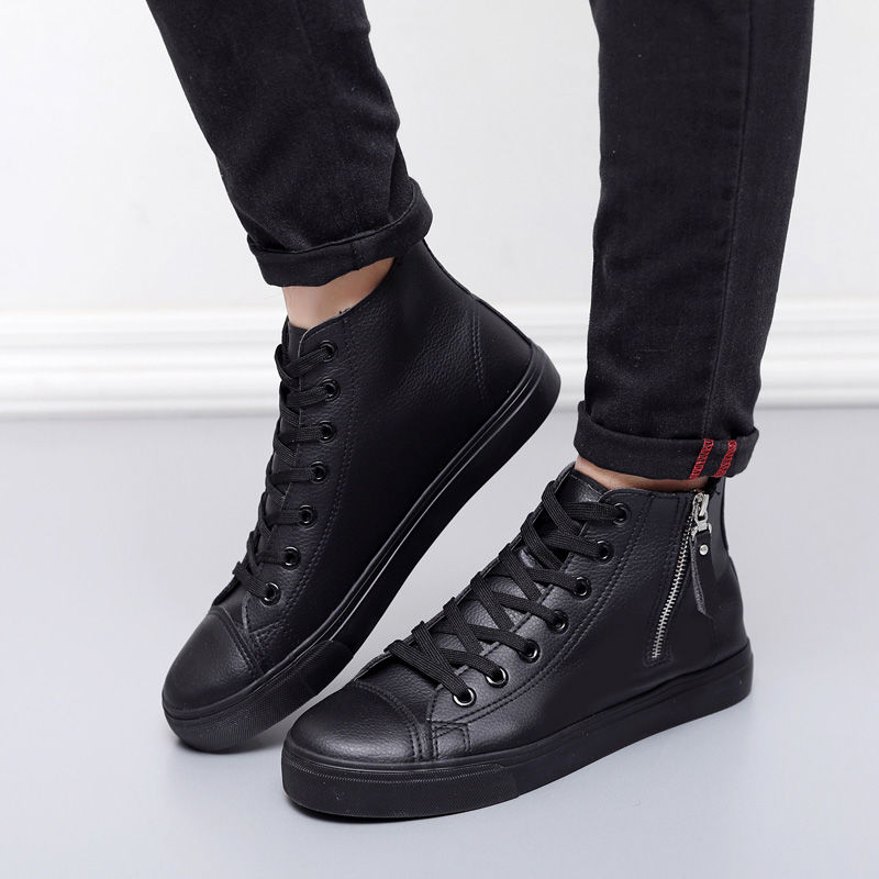 Ankle Boots Boys Leather Casual Shoes Superstar Luxury Brand Zipper Casual Shoes Men Unisex Sneakers Autumn Boots Man 2019