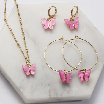 Acrylic Butterfly Pendant Earrings Necklace Combination Set Japan and South Korea Sweet Style Alloy Chain Jewelry Set
