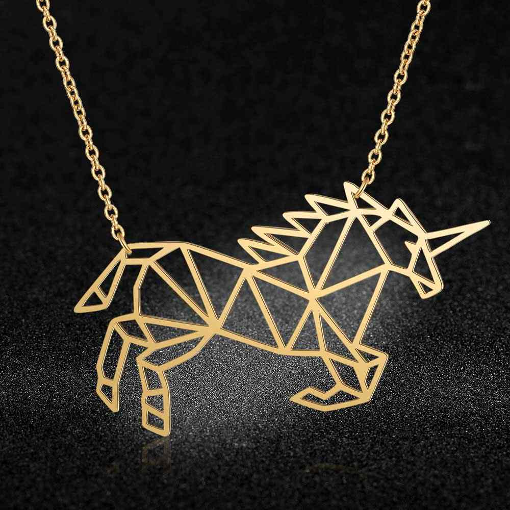 100% Stainless Steel Animal Unicorn Fashion Necklace for Women Female Trendy Jewelry Wholesale Unique Design Pendant Necklaces