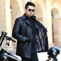 2019 NEW Leather Jacket Men Coats Youth lapel Brand High Quality PU Outerwear Men Business Winter Faux Fur Male Jacket Fleece