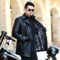2019 NEW Leather Jacket Men Coats Youth lapel Brand High Quality PU Outerwear Men Business Winter Faux Fur Male Jacket Fleece