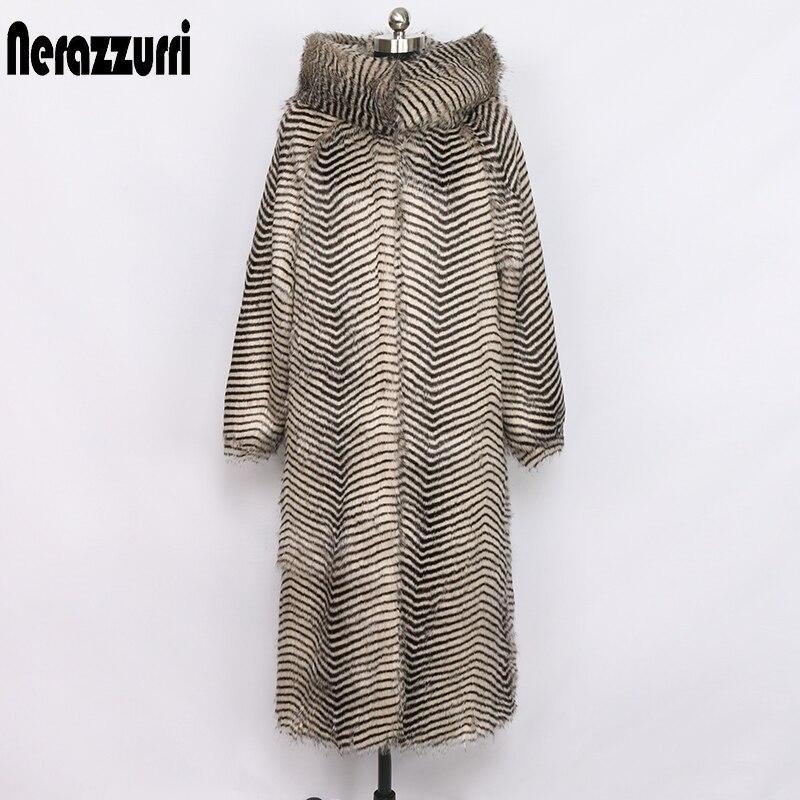 Nerazzurri women winter faux fur coat with big hood and raglan sleeve long warm outwear shaggy plus size fluffy jacket 6xl 7xl(China)