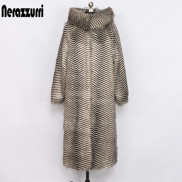 Nerazzurri women winter faux fur coat with big hood and raglan sleeve long warm outwear shaggy plus size fluffy jacket 6xl 7xl