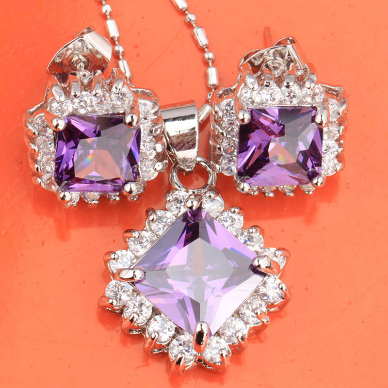 Classy Purple Silver) Argent Set Perhiasan Anting-Anting Kalung Liontin S8441