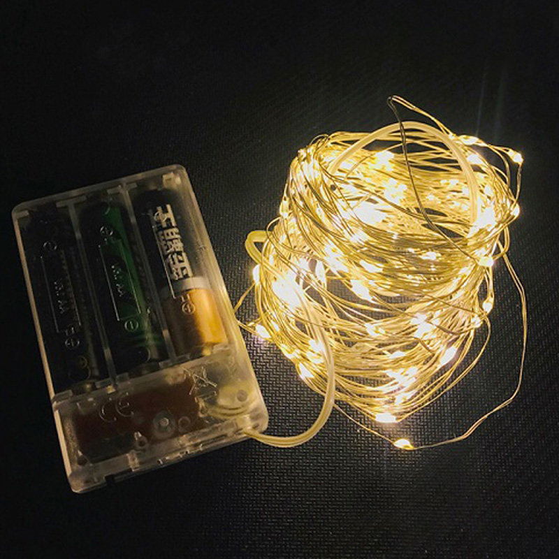 LED String Lights 10M 5M 2M Silver Copper Wire Garland Home Christmas Wedding Party Decoration  AA Battery Fairy Light