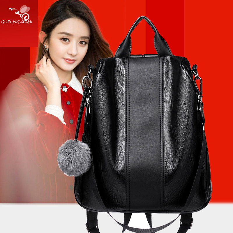 Image 3 - 2019 Women Leather Anti theft Backpacks High Quality Vintage Female Shoulder Bag Sac A Dos School Bags for Girls Bagpack Ladies-in Backpacks from Luggage & Bags