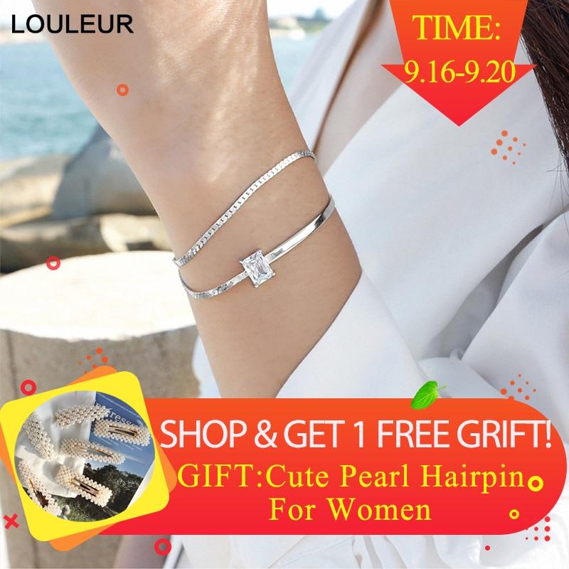 925 sterling silver Zircão AAAA dupla camada pulseiras moda cidade selvagem praça zircon pulseiras ajustáveis para as mulheres de jóias