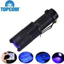 TopCom 365nm 395nm XPE UV Blacklight Scorpion UV Light Pet Urine Detector Zoom Ultraviolet Flashlight
