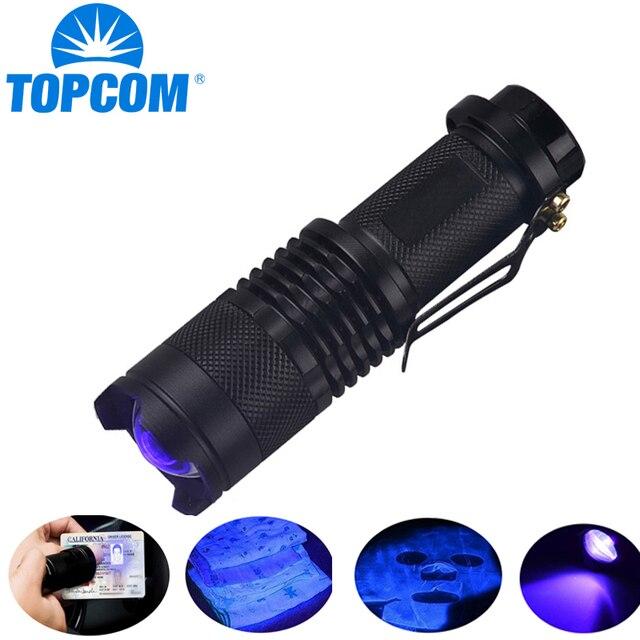 を Topcom 365nm 395nm XPE UV ブラックライトサソリ UV ライトペットの尿検出器、ズーム可能な 395nm 紫外線懐中電灯
