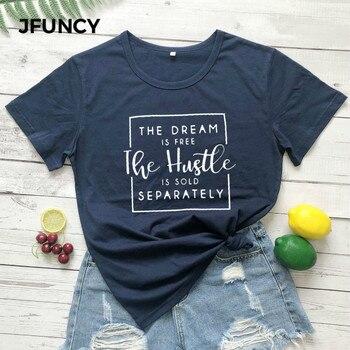 JFUNCY Plus Size Summer Cotton T Shirt Women Short Sleeve Tops Tee The Dream Is Free Letter Print Shirts Casual Women TShirt letter print stepped hem tee