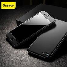 Baseus حافظة حماية كاملة لهاتف آيفون 7 plus 8 plus حافظة هاتف صلبة فائقة النحافة الغطاء الخلفي 9H زجاج حماية لهاتف آيفون 7
