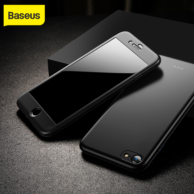 Baseus Fully Protection Case For iPhone 7 plus 8 plus Hard Ultra Slim phone Case Back Cover 9H protective glass for iPhone 7