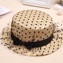 Straw-Cap Panama Beach Women's Ladies Summer Lace for Hats Gauze Bow-Tie Boater-Hat Hand-Made