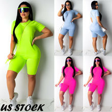 Sexy Women Sports Set Yoga Sleeve Crop Top Pants Outfit Workout Gym Fitness Athletic Clothes Tracksuit