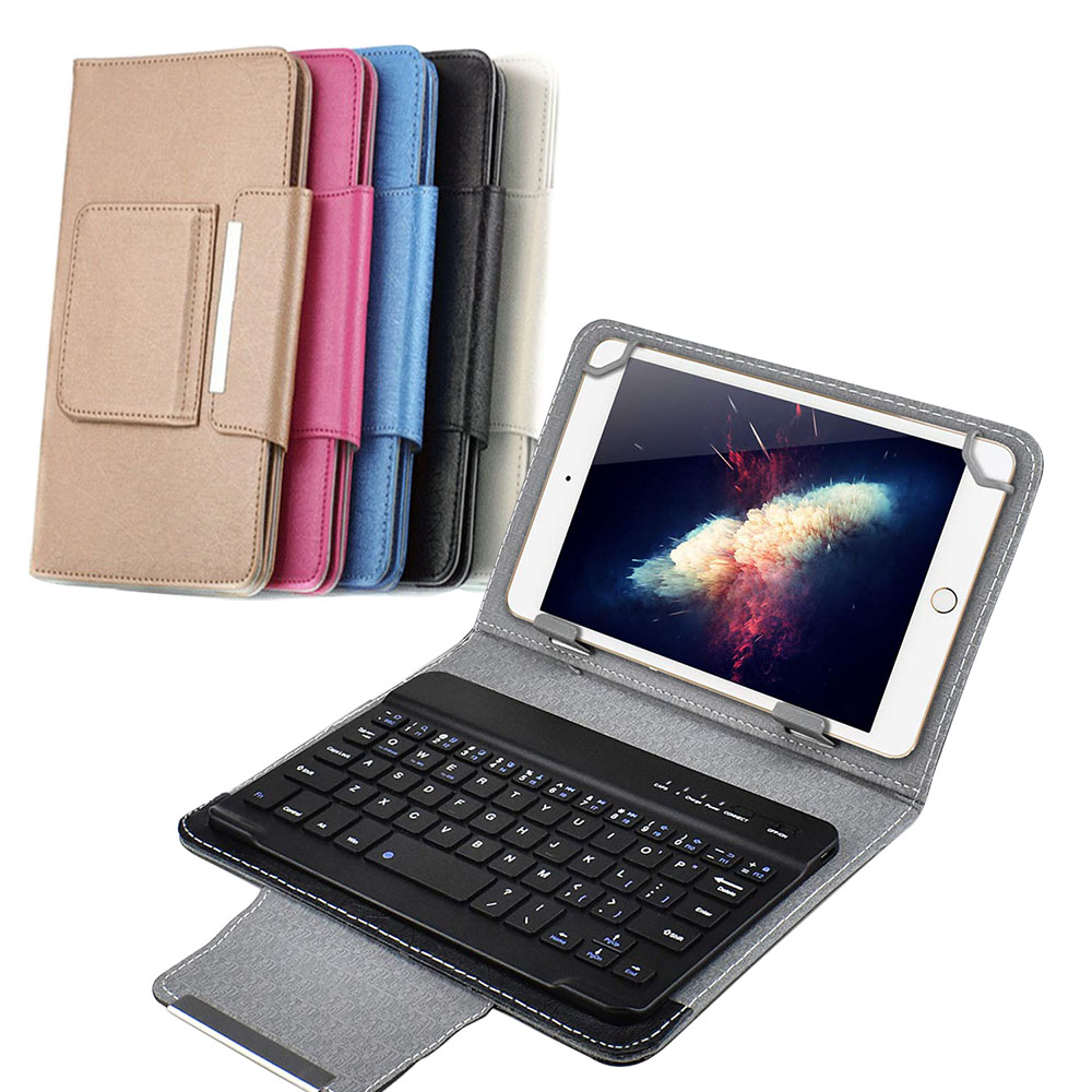 Wireless Bluetooth Keyboard For Tablet PU Leather Case Stand Cover +OTG+pen For Pad 7 8 Inch 9 10 Inch For IOS Android Windows image