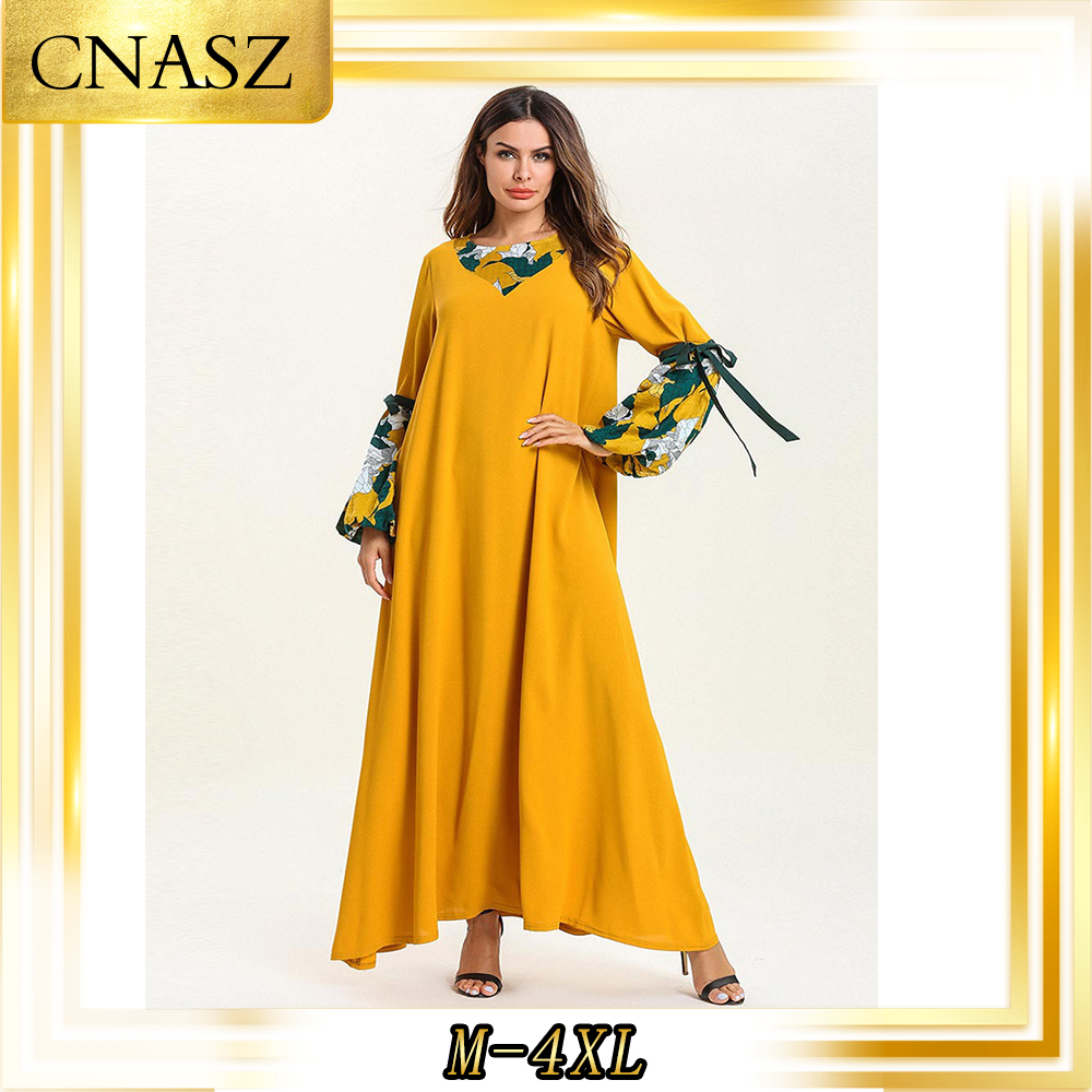 Abaya dubaï grande taille Femme impression mode Musulman Robe automne Musulmane Femme bretelles à manches longues Section mince Robe Musulmane