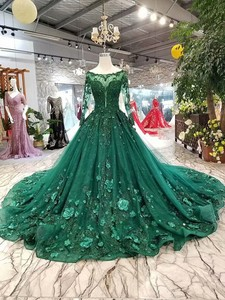 Image 4 - 2019 Korean Style Scoop Neck Matta Satin Full Sleeves A Line Green Wedding Dresses Lace Up Back With Beadings 3D Flower