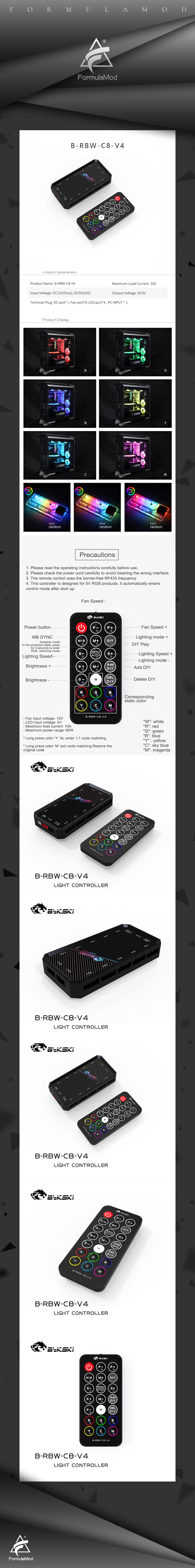 Bykski B-RBW-C8-V4 RBW(5v 3pin) Lighting Sync Controller For Bykski's RBW Lightings Synchronization To Motherboard