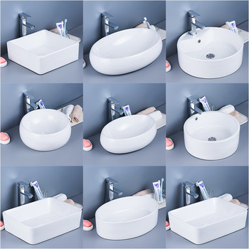 Flower Shape Basin Countertop White Washbasin Ceramic Bathroom Sink Bowls Bathroom Accessory Wash Hand Basins Shampoo Sink kemaidi new arrival bathroom faucet round paint golden bowl sinks vessel basins washbasin ceramic basin sink