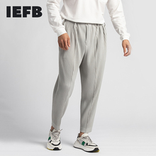 IEFB /men's wear Japan pleated trousers male 2021 spring new wrinkled mid-seam open ankle ankle-length pants elastic waist Y3493