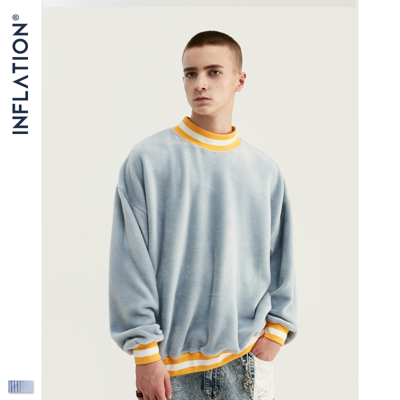 INFLATION Men Sweatshirt Casual Winter Autumn Warm O-neck Sweatshirt Male Velvet Sweatshirts Pullover Men Clothing 9623W