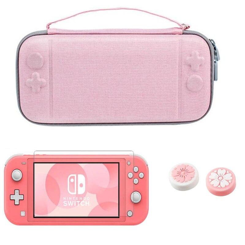 Para Nintendo Switch Lite / Nintend Switch NS bolsa de la consola Estuche de transporte bolsa de almacenamiento de viaje protectora Pochette película templada rosa
