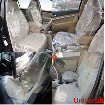 50/100Pcs Car Disposable Plastic Seat Covers Seat+Steering wheel+gear lever Covers 3Pcs Sets Steering Wheel Accessories image