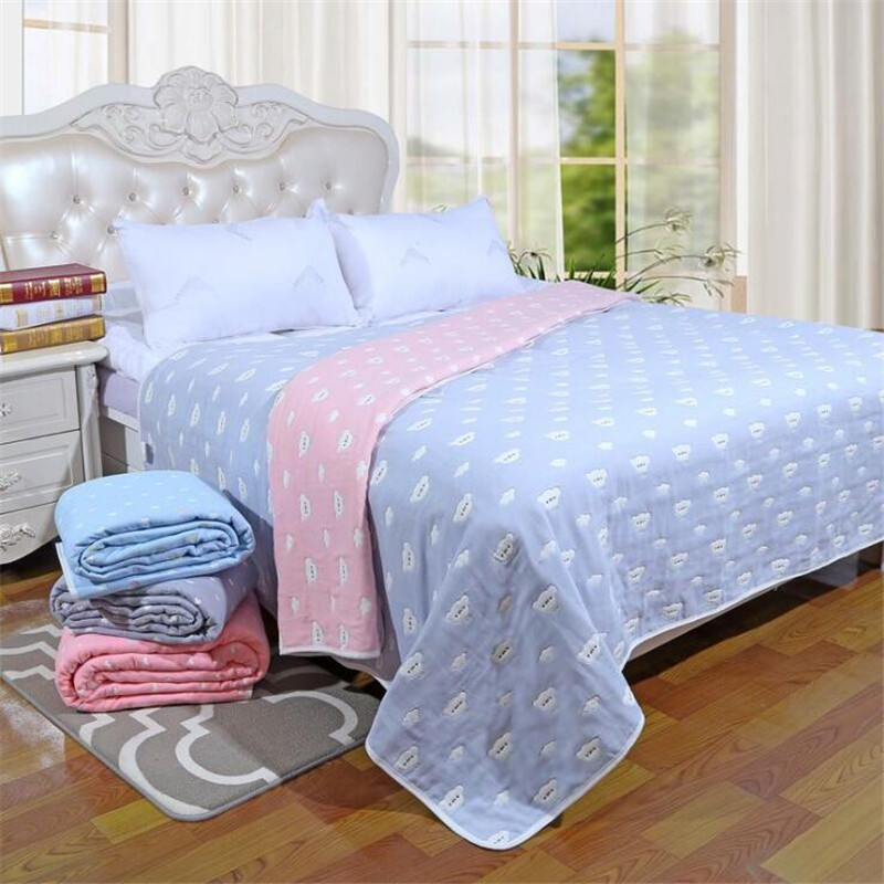 New 6 Layers Adult Blanket Multifunctional Cotton Gauze Air-conditioned Room Bedding Cover Autumn Blanket Lovers Gauze Towels