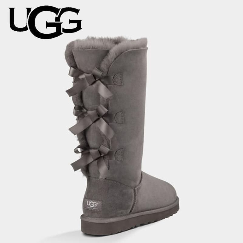Fashion Classic Original Bailey Bow UGG Boots 7308 Women Winter High Boots Uggs Women Genuine Leather Australia Boots Fur Wool